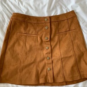 Zara brown suede button up skirt